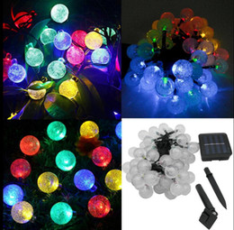 Cheap solar supply led - LED Crystal Ball Solar Powered Light Halloween Christmas Decorations 30 Lights Home Outdoor Garden Patio Party Supplies 50pcs OOA3151
