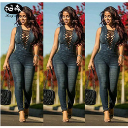 Wholesale Denim Sexy Jumpsuit - Wholesale- 2017 new women denim jumpsuit ladies club night wear playsuit Rompers women sexy sleeveless slim jumpsuit bodysuit femme blue
