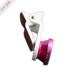 Wholesale Angle Eyes Led - Wholesale-smartphone LED Fill Light 0.65x wide-angle 185 degree fish-eye lens 10X Macro LED Lens rose Red