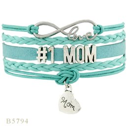 Wholesale Love Heart Lights - (10 PCS Lot)Infinity Love #1 Aunt Mom Grandma Grandpa Heart Charm Bracelets Gifts Bracelets For Women Light Blue Jewelry Leather Bracelets