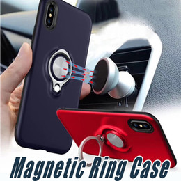 Wholesale Red Rings - Hybrid Armor 360 Ring Holder Magnetic Back Cover Cases With Retail Package For iPhone X 8 7 6 6S Plus Samsung S7 edge S8 Plus Note 8