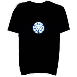 t-shirt lampeggiante Sconti La maglietta principale lampeggiante per gli uomini si accendono giù la maglietta leggera danzante maschio della maglietta del partito dell'uomo di Iron Man LED Trasporto libero