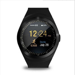 Wholesale Mp3 Bluetooth Camera Watch - Cawono Bluetooth Smartwatch Y1 Smart Watch Reloj Relogios 2G GSM SIM App Sync Mp3 for Apple iPhone Xiaomi Android Phones Black