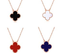 Wholesale Jade Rose Pendants - 925 Sterling Silver Clover Choker Lover Necklace Black Agate Red Jade White Shell Pendant Necklace Gold Rose Gold Silver Chains New With Tag