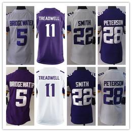 Wholesale Purple Football Jersey 28 - Womens football jerseys 5 Briogewater 11 Treadwell 22 Smith 28 Peterson free drop shipping nice ladies rugby jerseys