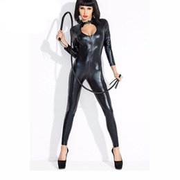 Wholesale Halloween Costume Catwomen - Wholesale- Dower Me Stylish Sexy Women Faux Leather Costume Zipper to Crotch Latex Catsuit Halloween Catwomen Costume Bodysuit
