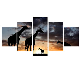 Wholesale huge wall art frame - Framed Huge 5 Panel hand-painted Modern Abstract Art Landscape Giraffe Decor Wall Oil Painting On Canvas Multi sizes 530