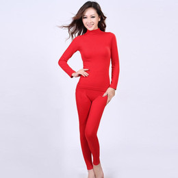 Wholesale Ladies Long Johns Underwear - Wholesale- high neck corset body winter warm clothing long Johns thermal underwear set wholesale New style 2017 Ladies seamless