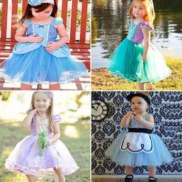 Wholesale Bubbles Show - INS Girls Floral Dress Baby Princess Party Blue Bubble Skirt Up Cinderella Dress Birthday Show TUTU dresses 4 Style DHL Free WX-D33