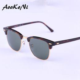 Wholesale Girls Brand Coat - AOOKONI Classic Sunglasses Men Women Brand Designer Semi Rimless G15 Coating Mirror Retro Club Sun glasses W3065 Oculos De Sol new hinges
