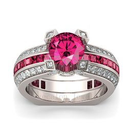 Wholesale Jewelry Ruby Ring - 2017 New Hot Sale Luxury Jewelry 925 Sterling Silver Red Ruby AAA CZ Diamond Gemstones Round Cut Wedding Women Bridal Ring Set Size 5-10