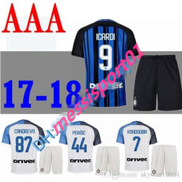 Wholesale Thailand Jersey Milan - TOP Thailand Quality 2017 2018 Inter home AWAY adult kits Soccer jersey CANDREVA ICARDI Milan full Set 17 18 Maillot de foot football shirt