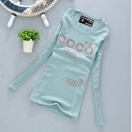 Wholesale Coco Fashion Free Shipping - Wholesale- womens Spring Autumn clothes fashion 2015 Cotton tops Long sleeve Coco print t shirt free shipping