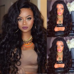 Wholesale Indian Women Body Hair - 9A Pre Plucked Natural Hairline Full Lace Wigs For Black Women Loose Wave Brazilian Virgin Human Hair Lace Front Wigs With Baby Hair
