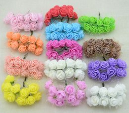 Wholesale Cheap Pink Weddings Rings - Wholesale-12pcs Cheap free shipping DIY mini roses artificial flowers lace wedding flower decoration flower foam hand ring material