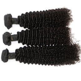 Wholesale Kinky Curl Human Weave Hair - Kinky Curl Brazilian Malaysian Indian Peruvian Hair Weave 10-26inch 3pcs lot Kinky Curl Hair Bundles Natural Black Human Hair Extensions