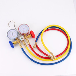 Wholesale Car Ac Kit - New Refrigeration Air Conditioning AC Diagnostic Manifold Gauge Tool Set sn For All Car A C With Hose and Hook Kit