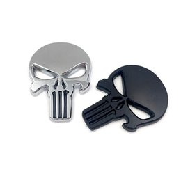 Wholesale Metal Door Window - 10X THE Punisher Body Badge 3D Skull Sticker Metal Emblem For Infiniti The Whole Body Q40Q50 QX80 FX35 G25 Q70 Qx60