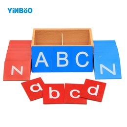 Wholesale Early Boxing - Wholesale- Baby Toys Montessori Lower And Capital Case Sandpaper Letters Boxes Wooden Toys Child Educational Early Development learn Gift