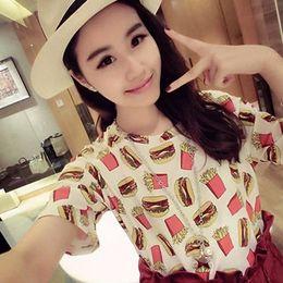 Wholesale Roupa Korean - Wholesale-summer 2016 women summer tee shirt femme French fries print tumblr korean hipster poleras de mujer camiseta roupa female t-shirt