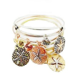 Wholesale Wholesale Starfish Cuff Bracelet - Ani Starfish Love Charm Bracelet Wristband Bangle Cuff Band for Women Fashion Silver Gold DIY Jewelry 162199