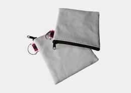 Pequeña billetera de crema online-300Pcs / lot lona de algodón color crema pequeño cuadrado monedero DIY unisex en blanco llanura de algodón bolsas pequeñas cremallera roja carteras ocasionales casos clave
