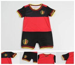 Wholesale Red Lycra Jumpsuit - Belgium summer Soccer baby romper 2018 LUKAKU home red away blue FELLAINI E.HAZARD KOMPANY Belgium football shirt soccer jumpsuit 0-12M