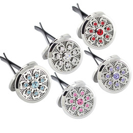 Wholesale Rhinestones For Cars - Panpan jewelry! 38mm magnetic car diffuser locket 316l stainless steel silver lotus perfume locket for car