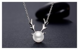 Wholesale Korean Jewelry Pearls - Korean HOT S925 Silver Necklace, Female Bow Ornament, Natural Pearl, Deer Pendant, Birthday Gift, Ladies' Explosion, Pendant Jewelry