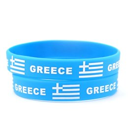 Wholesale greek rings - 50pcs Greece National Flag Design Bracelets Greek Football World Cup 100% Silicone Wristband Personalized Gym Fitness Energy Bracelets