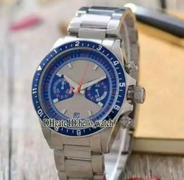 Wholesale Watch Band Silver Cheap - Cheap Luxury Brand Watch Heritage 70330B Blue White Dial VK Quartz Chronograph Stopwatch Mens Watch Stainless Steel Band New Gents Watches