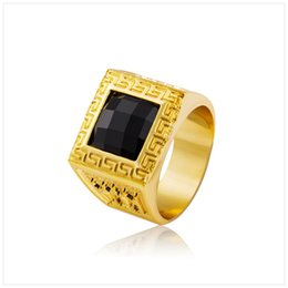 Wholesale Gem Clusters - Gold Rings Bling Crystal Gem Ring Men Gift Hip Hop Rings Saudi Arabia Wedding Ring For Men Jewelry Free Shipping Gifts