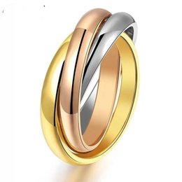 Wholesale Real Roll - Rolling Ring for women new jewelry stainless steel Roe Gold 18K Real Gold plated multi-tone stacked band rings
