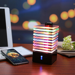 Wholesale Dancing Mp3 - Creative LED Bluetooth Speaker With EQ Colorful Lights Dance Subwoofer,Music Pluse Wireless Lamp Glass Speaker with Bass Booster