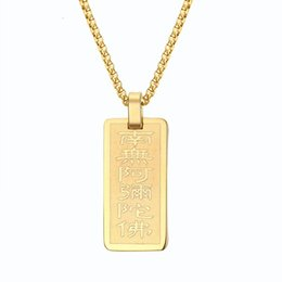 Wholesale 18k Yellow Gold Cross - Men's Woman's Stainless Steel and Yellow Gold Plated Dog Tag Pendant Bible Lord's Prayer Cross Choker Necklace Jewelry 24inch PN-604