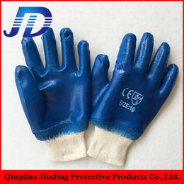 Wholesale Nitrile Gloves Blue - 2015 top selling10'' Full dipped knit wrist blue color smooth finish nitrile gloves with cotten liner