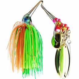 Wholesale Skirt Bait Heads - 6pcs set Spinner Bait Metal Lure with Silicone Skirts Willow Blade Spinnerbait Pike Bass Jig Head Rubber saltwater Fishing Lure