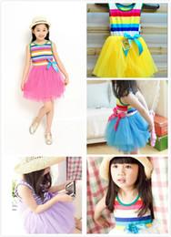 Wholesale Girls Tutu Skirts Patterns - DHL 5 Colors Hot Sale Baby Girl Lace Dress Purple Striped Infant Tutu Pattern Skirt Kids Tulle Dress JC94