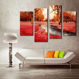 Wholesale Autumn Canvas Wall Art - 4 Panel Wall Art Painting Deer In Autumn Forest Pictures Prints On Canvas Animal Picture For Home Decor with Wooden Framed Ready to Hang