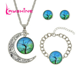 Wholesale Silver Necklace Yellow - Ethnic Style Green Blue Purple Yellow Color Moon and Round Shape Necklace Earrings Bracelet Set Fashion For Women