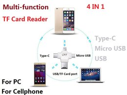 Wholesale Single Usb Ports - Multi-function TF card reader 4 In 1 card reader for cellphone PC micro usb Type C USB any ports Microsd card reader
