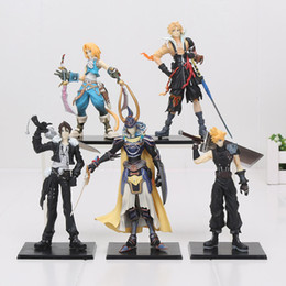 Wholesale Fantasy Models - Final Fantasy 5pcs set Cloud Strife Squall Leonhart Tidus Warrior of Light Zack Fair PVC Figures Collectible Model Toys