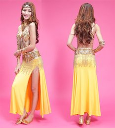 Wholesale Satin Belly Dance Dress - New Adult Bellydance Costume Gold Flashing Belly Performance Dress Sexy Tribal Skirt 4pcs 1set Indian Belly Dance Clothes