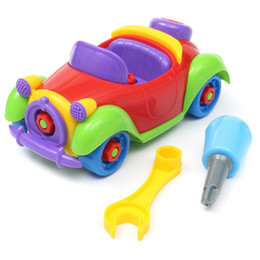 Wholesale Top Toy Figures - Wholesale-Hot Sale Christmas Gift Kids Baby Boys Girls Disassembly Puzzle Assembly Classic Car Educational Toys With Tools Tops