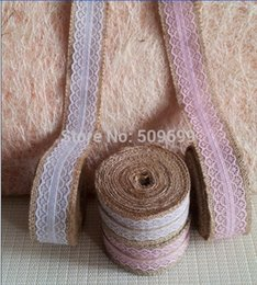 Wholesale Red Burlap Ribbon - lace tutu 4CM Wide x 5m White Lace with Natural Burlap Ribbon jute roll for Rustic Vintage Wedding Decoration craft gift