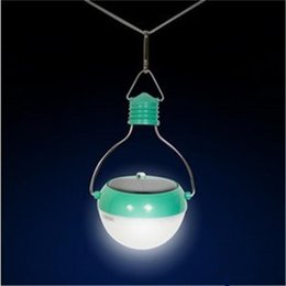 Wholesale Automatic Light Lamp - NEW LED Bulb Lantern Solar Powered Camping Light 7 LED Automatic Light-sensitive Solar Hanging Lights High BrightOutdoor Lighting Solar Lamp