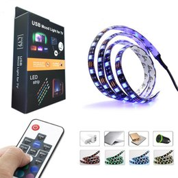 Wholesale Pc For Tv - 5050 DC 5V RGB LED Strip Waterproof 30LED M USB LED Light Strips Flexible Neon Tape 1M 2M add Remote For TV Background