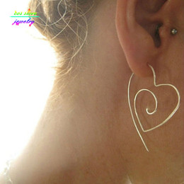 Wholesale Wholesale Wire Hoop Earrings - Wholesale- Unique New Tribal Gold Silver Plated Large Heart Spiral Hoop Earrings Wire Earrings Bijoux