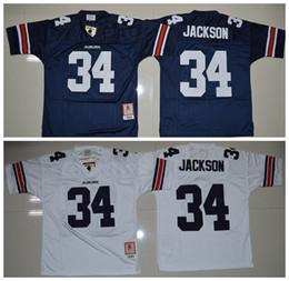 Wholesale Auburn Tigers Football Jersey - 34 Bo Jackson Auburn Tigers Men Jerseys White Navy Blue Mens College Football Throwback Jersey Size S-XXXL