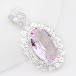 wholesale pink topaz jewelry Coupons - Luckyshine 10 Pcs  Lot Time-limited Sale Girls' 925 Sterling Silver Jewelry Oval Lovely Pink Topaz Gemstone Pendants for Necklaces